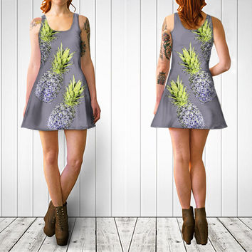 Lady's Summer dress Artistic print of pineapples dress Sexy dress Pineapples in lilac grey color