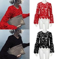 Fashion Womens Lace Long Flare Sleeve Shirt Casual Blouse Hollow Tops T Shirt