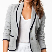Long Sleeve Double Buttoned Suit Jacket
