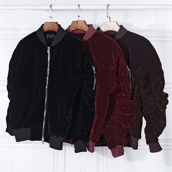 New fashion Vintage Velvet Fabric Pleated Sleeve Designer Bomber Jacket