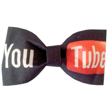 YouTube Inspired Hair Bow or Bow Tie Geeky Fabric Bow