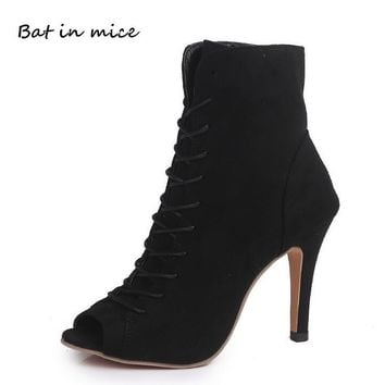 Spring Autumn Women Gladiator Sexy woman Peep toe Ankle pumps Cross Straps stiletto Thin high heels Party mujer zapatos W0016