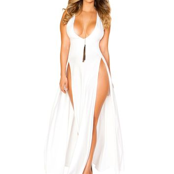 Sassy White Maxi Length Dress With Front Slits