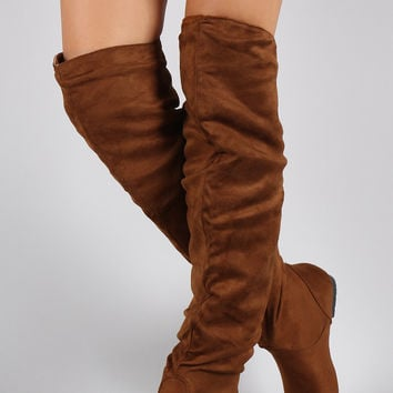 Suede Slouchy Thigh High Flat Boot