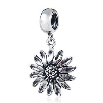 Ollia Jewelry Antique Sterling Silver Dangle Beads Always Facing The Sun Charm Sunflower Charm Lucky Flower of Leo Charms