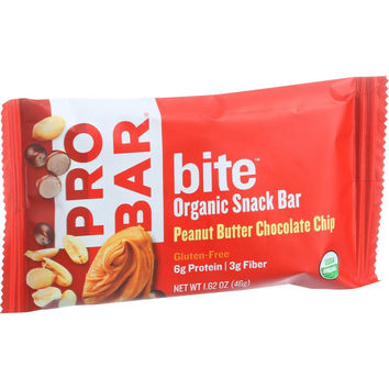 Probar Bite Organic Snack Bar - Peanut Butter Chocolate Chip - 1.62 oz Bars - Pack of 12