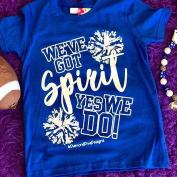 Diamond Diva 2017 Fall Got Spirit Youth Game Day blue/White Shirt