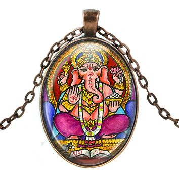 Lord Ganesh for Intellect Wisdom & Breaking Obstacles Huge Talisman with Chain Necklace