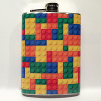 Lego Brick Wallpaper Stainless Steel 8oz Hip Flask