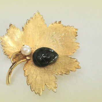 On Sale October Autumn Leaf Brooch Cultured Pearl Berry and Jade Cocoon Autumn Pin Signed IPS 12kt gf