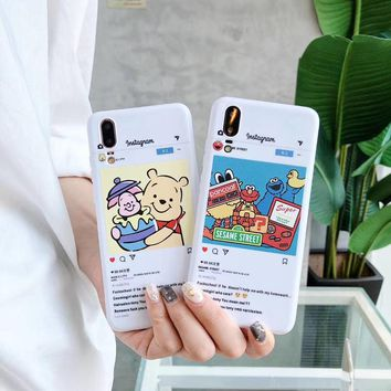 Korean cute glossy Winnie Pooh bear Sesame Street Cookie Elmo soft TPU phone case for iphone 6 6s 7 7plus 8 X XR XS MAX cover