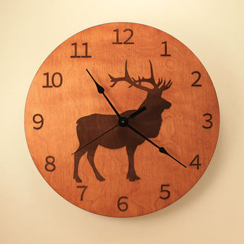 Elk laser cut clock Deer clock Wood clock Nature clock Wall clock Wooden wall clock Hunting decor Hunting gift Deer decor Wildlife clock