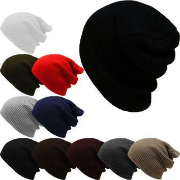 2016 New Arrival Sale Acrylic Adult Beanie Autumn Winter Solid Color Pinstripe Hedging Cap Male Hat Warm Knit Ski Hats Outdoors