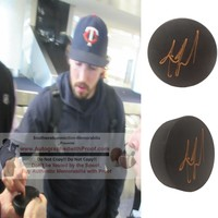 Justin Faulk Autographed Ice Hockey Puck, St. Louis Blues, Proof Photo
