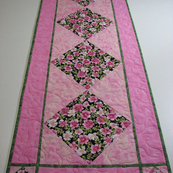 Quilted Table Runner , Pink and Green Floral , Valentine's Day Table Runner