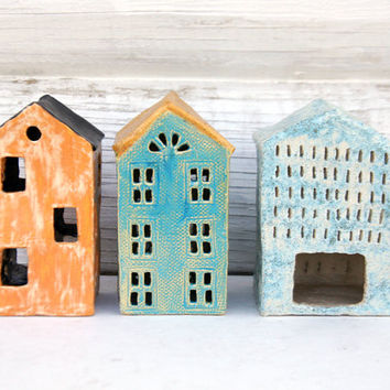 House Tealight and Candle Holder-Ceramic House-Candle Lantern-Ceramics And Pottery