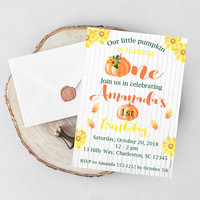 Fall First Birthday Invitation - Little Pumpkin Birthday Invitation - Pumpkin Birthday Invitation - Girl First Birthday - Boy First Birthday