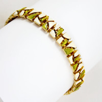 Hobé Modernist Enamel Bracelet - Green and White on Gold