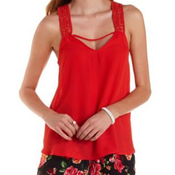 Poppy Red Crochet-Strap Chiffon Tank Top by Charlotte Russe