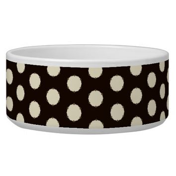 Black & White Polka Dot Pattern Dog Food Bowls