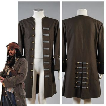 Adult Pirates Of The Caribbean Jack Sparrow Jacket Coat Cosplay Costume