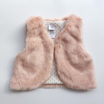Autumn Winter Baby Sleeveless Faux Fur Vest Baby Girl Winter Waistcoat Fur Vest For Baby Clothing
