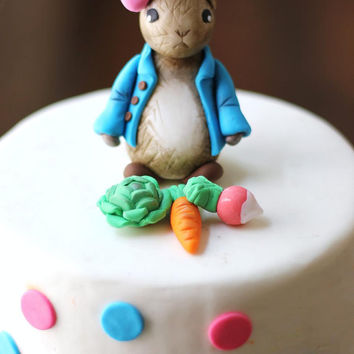 Whimsical 3D fondant Rabbit Cake Topper Fondant Figure - Perfectly Matches Our Cupcake Toppers