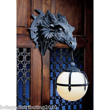 FIERCE DRAGON HEAD WALL LAMP WALL SCONCE LIGHTED LANTERN STATUE