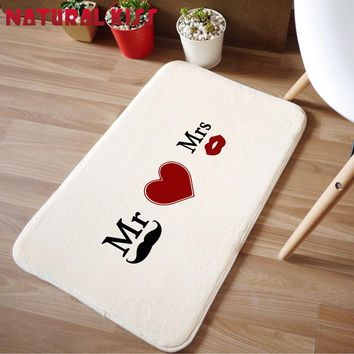 Newly married Mr and Mrs 40x60cm Carpet For Living Room Bedroom Rectangle Rugs Coral Velvet Suede Mats Doormat Home decoration