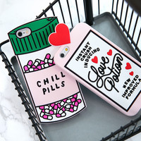 3D Love Potion Chill Pills Bottle Phone Case For iPhone 7 PLUS 5 5s se 6 6S Plus Soft Silicone For NOTE 3 4 5 7 A7 A8 A9
