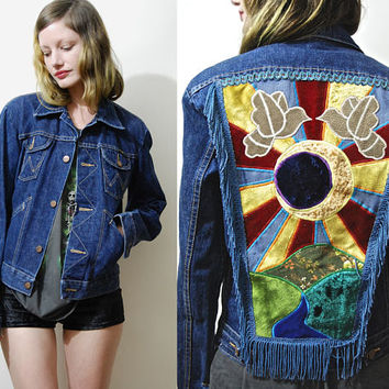Vintage SUN MOON 70s Wrangler Denim Jacket EMBROIDERED Patchwork Velvet Suede Eclipse Fringe back Patch Boho Bohemian Hippie 1970s vtg xs s
