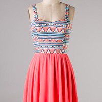 Flirtation Dress - Coral - Hazel & Olive