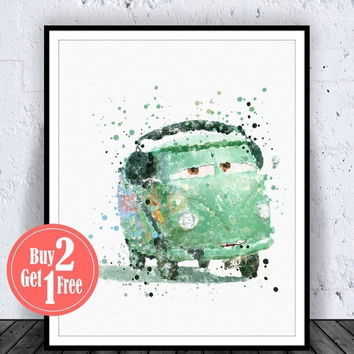 BIG SALE: Disney Cars Fillmore, Disney Cars Art Print, Disney Cars Decor, Disney Cars Print, Disney Print, Disney Watercolor, disney decor N