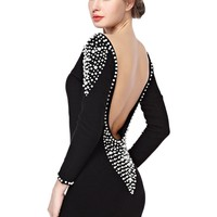TopStyliShop Women's Sequins Long Sleeve Backless Dress