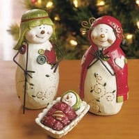 3-Pc. Snowman Nativity Set Christmas Seasonal Holiday Home Decor