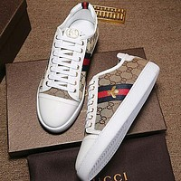 Gucci Bee Print White Sole Man or Woman Fashion Sport shoes Khaki