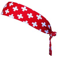 Lifeguard Cross Elastic Tie 2.25 Inch Headband