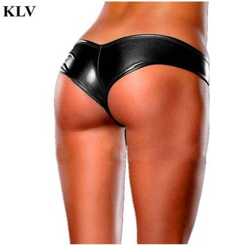 Stylish Fashion 2017 5colors Women's Sexy Panties Briefs Night Game Glossy Leather Shorts Ladies Underwear Thongs Knicker Jan19