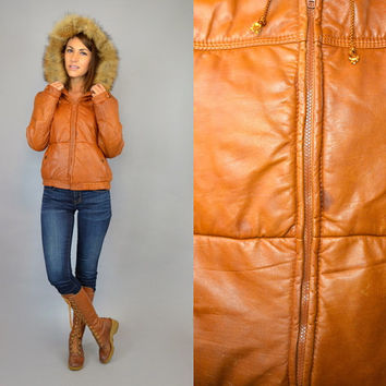 vtg 80's camel LEATHER + COYOTE FUR quilted puff bomber hooded cropped coat jacket, small-medium