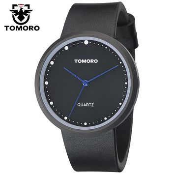 TOMORO 2017 Moon Inspired Original Unisex Vogue Minimalist Men Black Calfskin Leather Water Resistant Women Japan Quartz Watches
