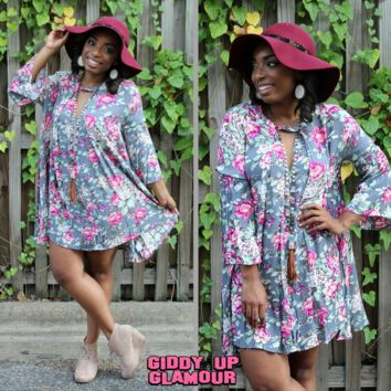 My Favorite Things Floral Print Trapeze Dress in Grey