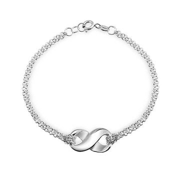 Infinity Eternal Love Knot Double Chain Bracelet 925 Sterling Silver