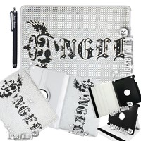 Jersey Bling® Angel Ipad 2/3/4 Case w/Crystal & Rhinestone Front, on White PU Leather 360 Rotating Cover & Stylus (Ipad 2/3/4, Clear)