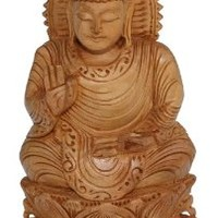 SouvNear 8.1 Inch Buddha Statue Brown Wooden Buddha Sculpture with Hand Raised in a Blessing Gesture - Christmas Gifts