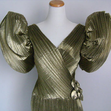 Rose Taft Couture Fashions MADE IN USA Vintage Golden Metallic Padded Puff Strong Power Shoulders Sleeve V Neck & V Back Long Cocktail Dress