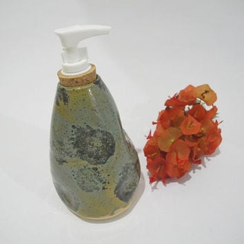 Soap Dispenser, Liquid Soap Pump, Lotion Pump,  Bathroom Accessories,  Handmade Teal Ceramics