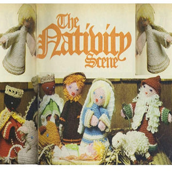 Crochet Nativity Scene Pattern Vintage 70s Christmas Nativity Dolls Patterns Crochet Christmas Home Decor Pattern
