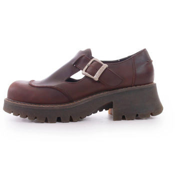90s Vintage Brown Leather Mary Janes Chunky Platform Preppy Hipster Grunge Shoes Womens Size US 9 UK 7 EUR 39 40