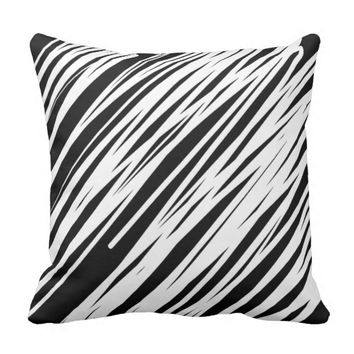 Stylish Black & White Lines Graphic Print Pillow. Pillow
