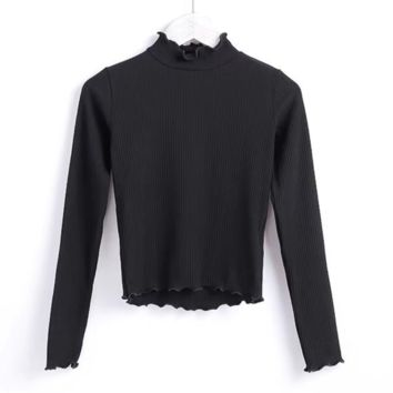 FREE SHIPPING Early autumn new slender body style petals mislabeled high - waisted long - sleeve T - shirt undershirt
